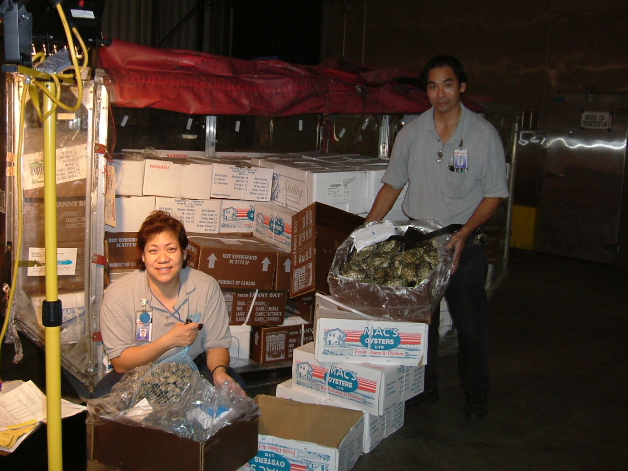 Inspecting live seafood imports.