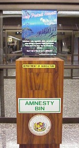 Amnesty bin at the Honolulu Airport