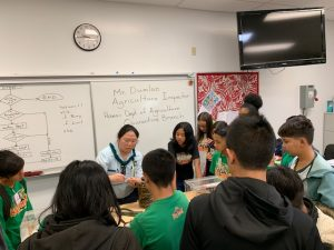 Plant Quarantine Education Specialist Kent Dumlao and inspector Shelby Ching hoped to inspire students to pursue careers in agriculture at the Ewa Makai Middle School Career Fair on Feb. 22, 2019.