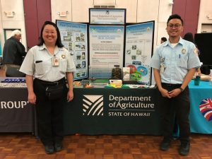 Plant Quarantine Education Specialist Kent Dumlao (right) and inspector Chanlynn Nakamiyo (left) represent HDOA at the University of Hawaii Job Fair on March 5, 2019 at the UH Campus Center Ballroom.