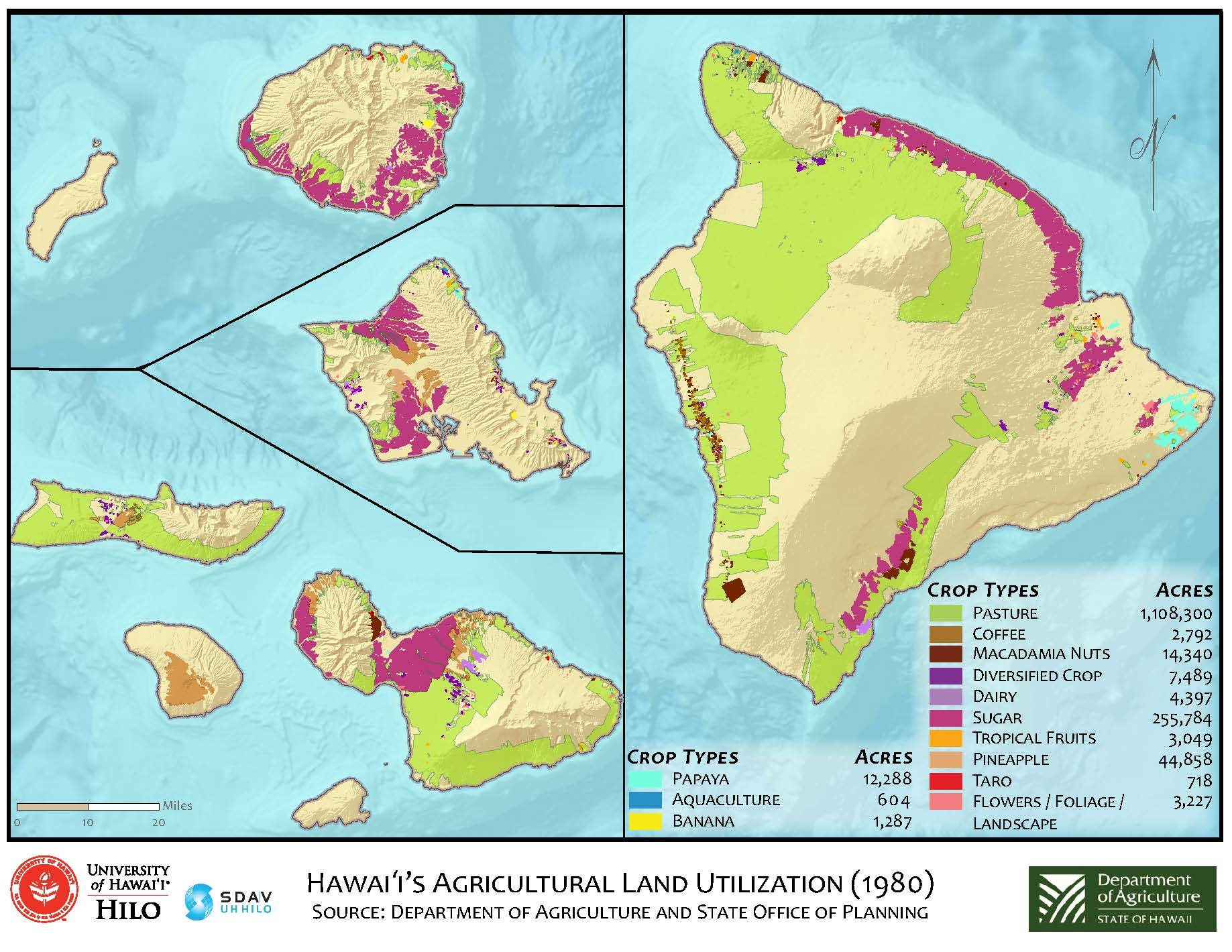 Department Of Agriculture Hawaii Agricultural Land Use Study - Map of state of hawaii